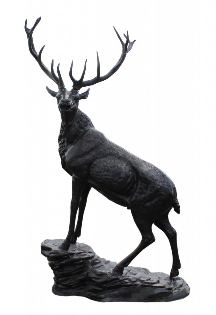 Elk On Rock Facing Left Cast Aluminum Black Paint