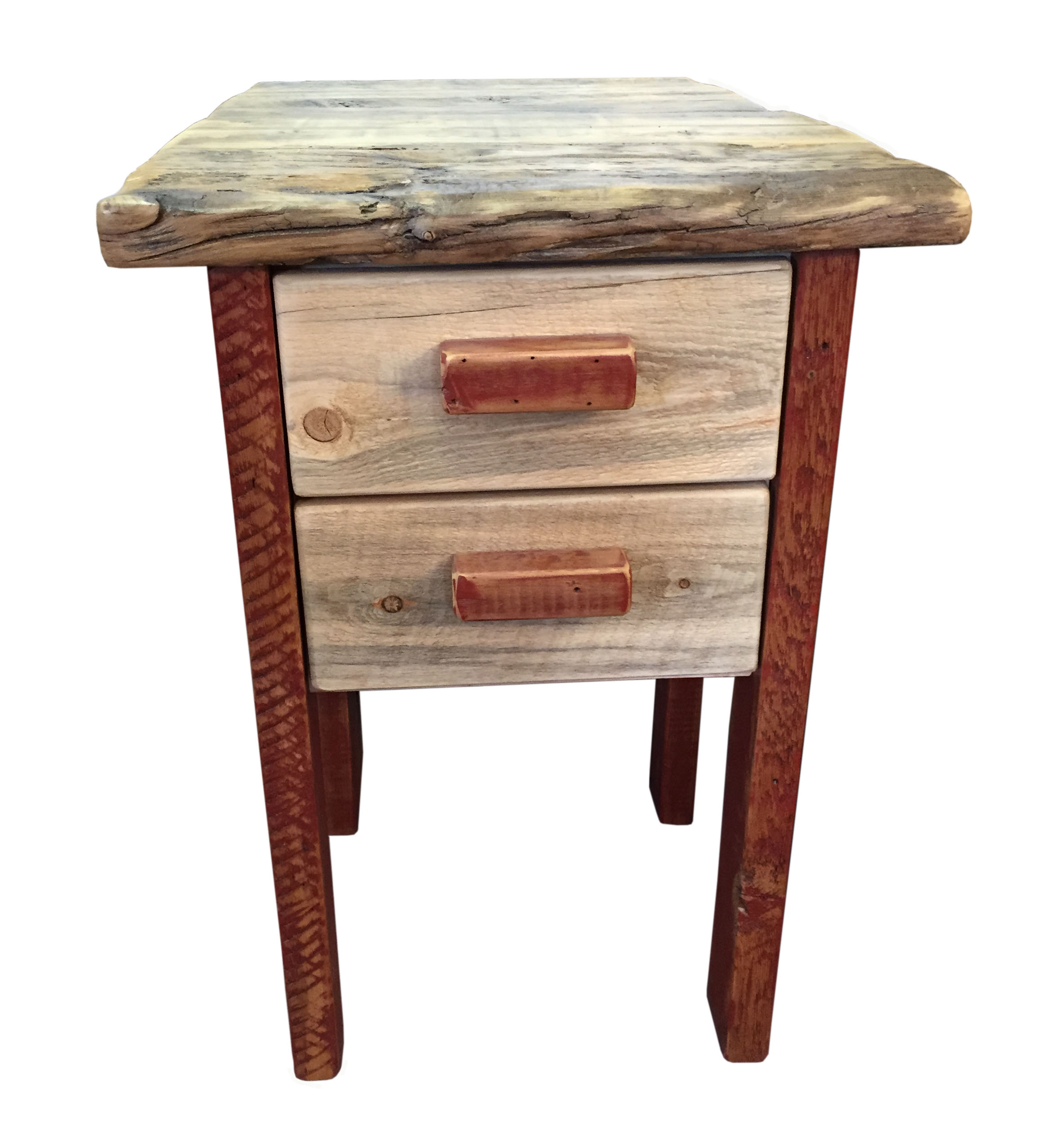 Red Barn Wood And Beetle Kill Pine 2 Drawer Nightstand