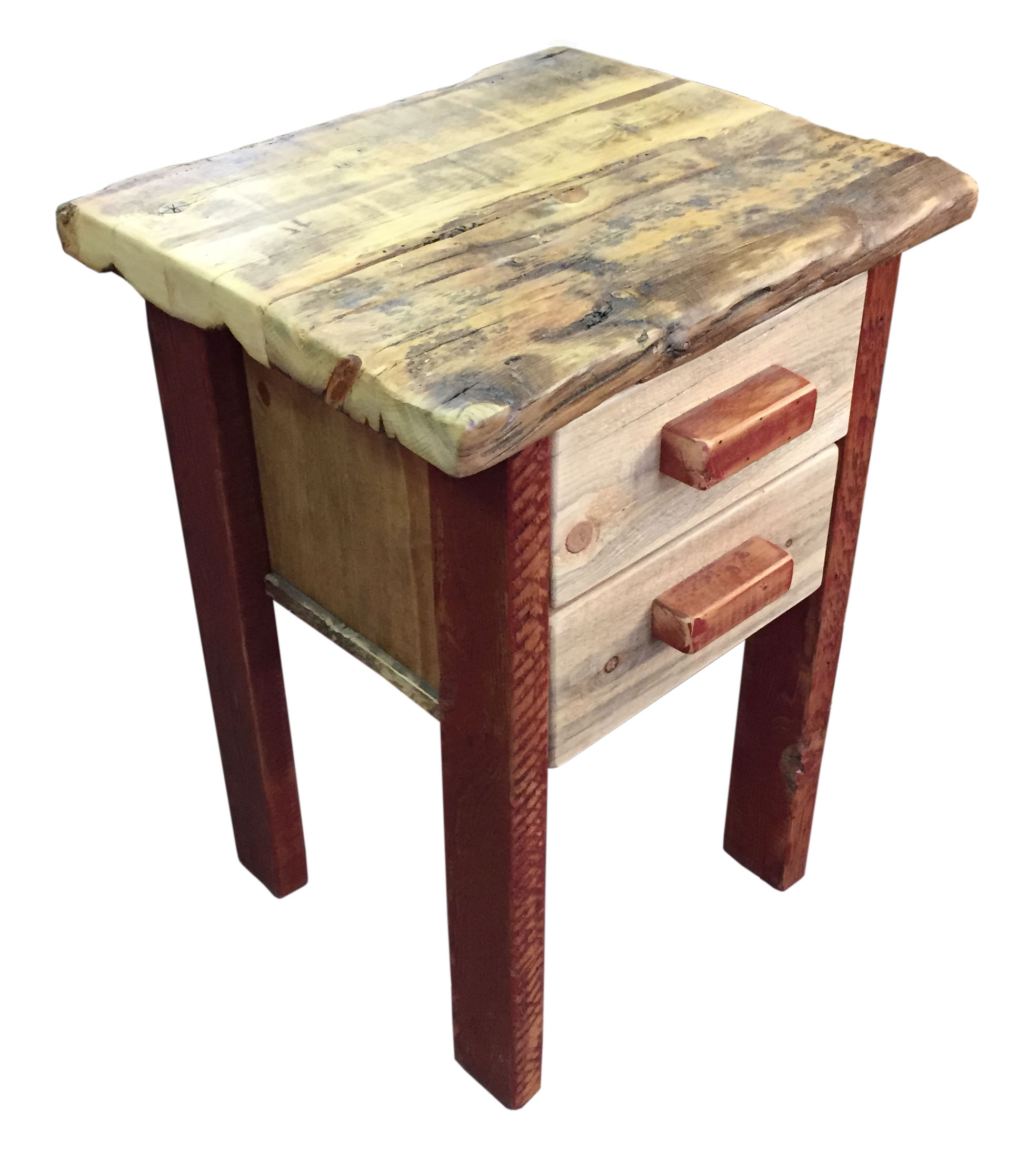 Red Barn Wood And Beetle Kill Pine 2 Drawer Nightstand Breck Bears