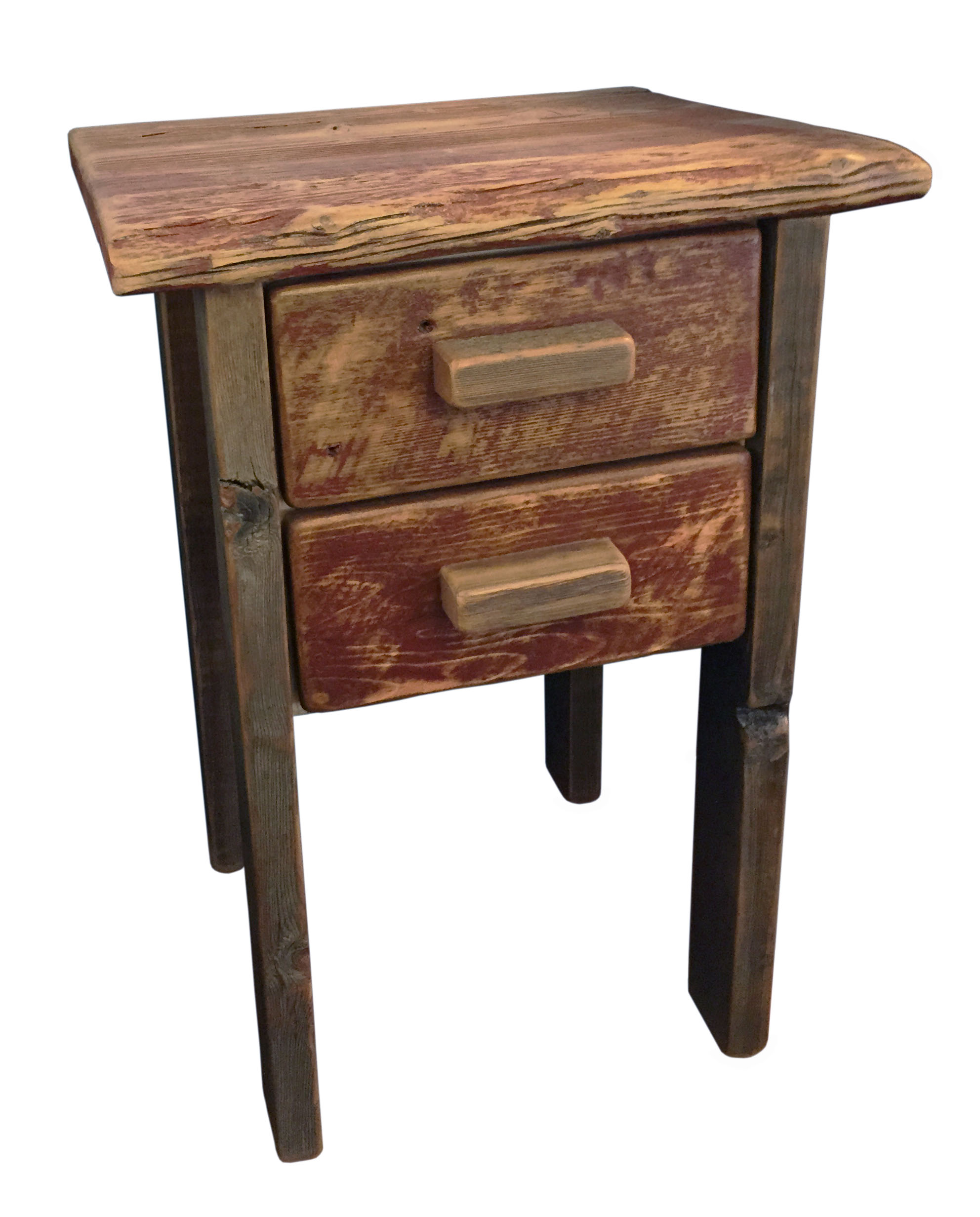 Model Reclaimed Barnwood Wood End Table Or Night Stand Pair