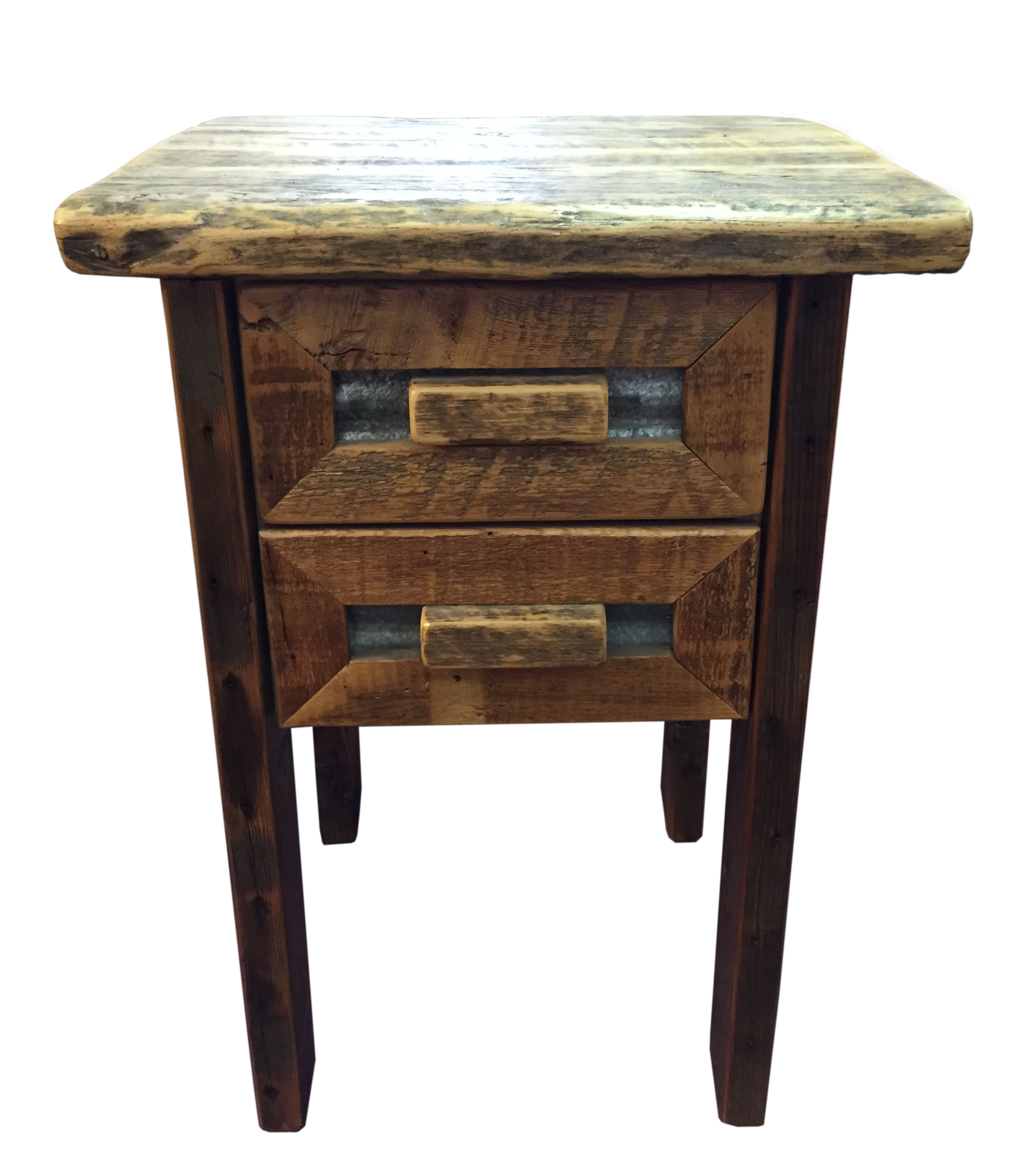 Barn Wood And Tin 2 Drawer Nightstand Breck Bears