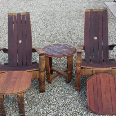 Barrel Set Large Round Table Front