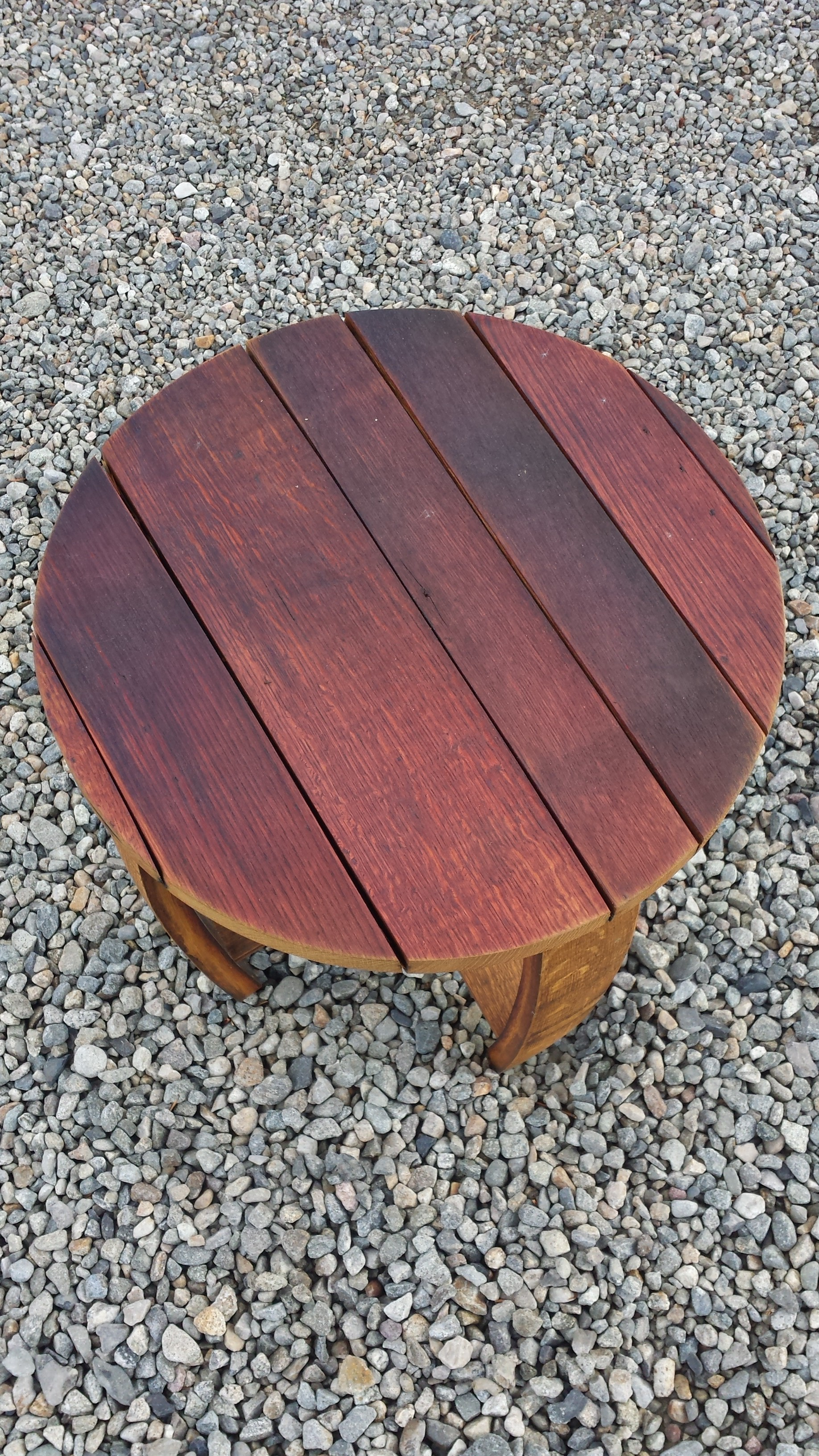 Oak Red Wine Barrel Outdoor Small Round Table Breck Bears